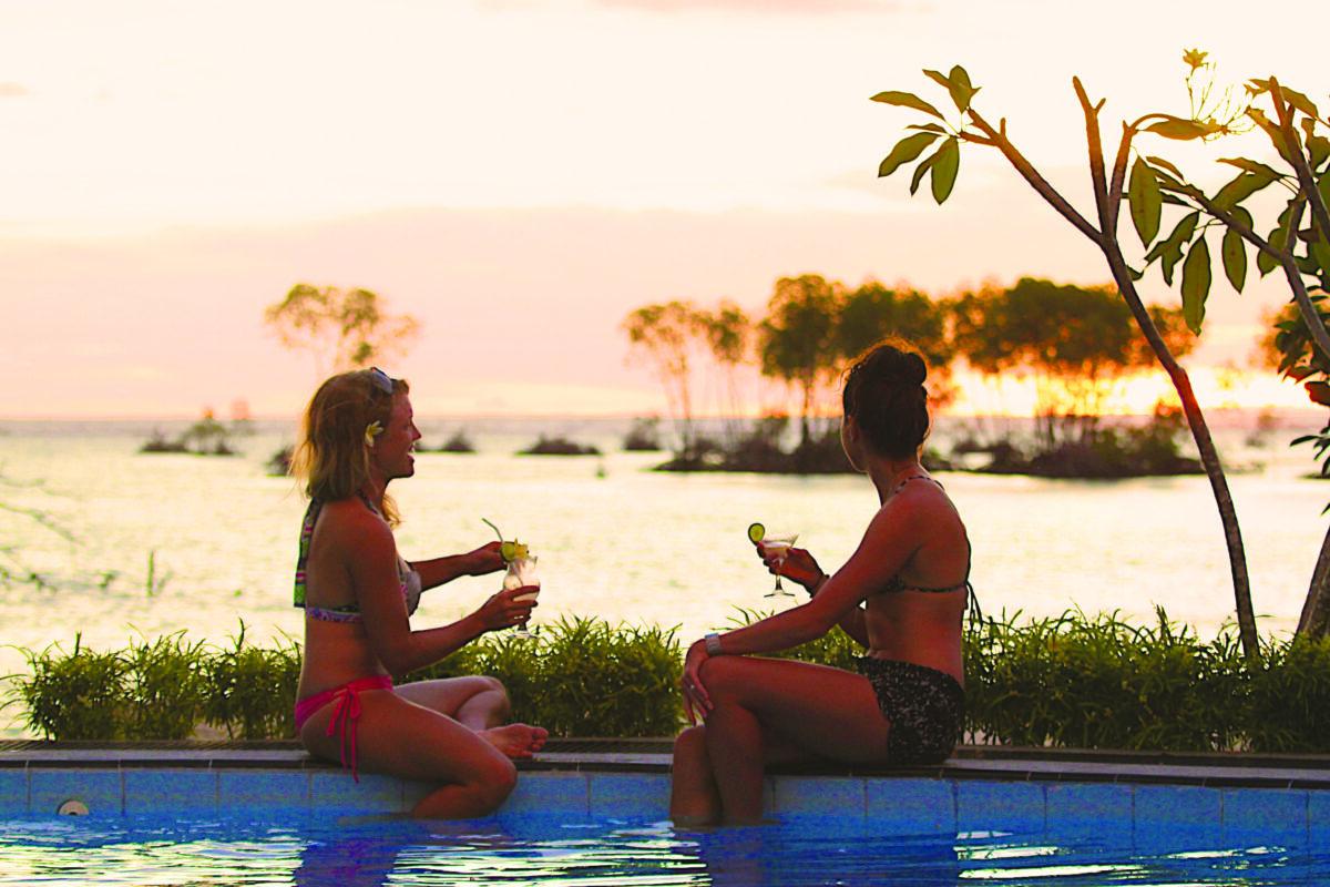 Surf Camp Resort Mentawai Islands Pool Girls Drinks Sunset Paradise 2517 x 1678