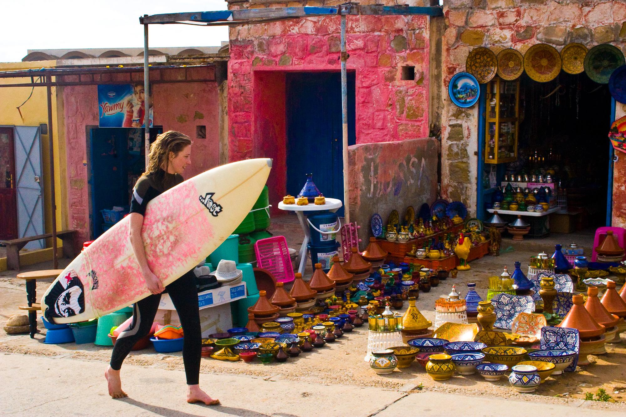 Star Surf Camps Morocco Main Slider Girl Market Surf Board 2000 x 1333