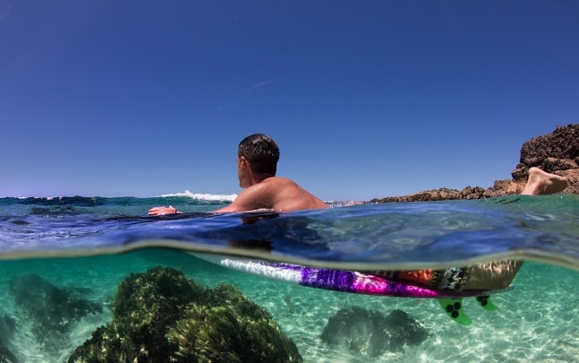 Surf Camp Surfing Holiday Fuerteventura Surfboard Underwater Optimized